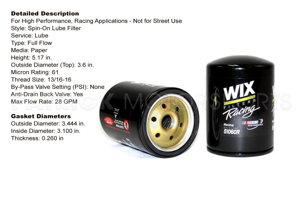 Engine Oil Filter - WIX Racing