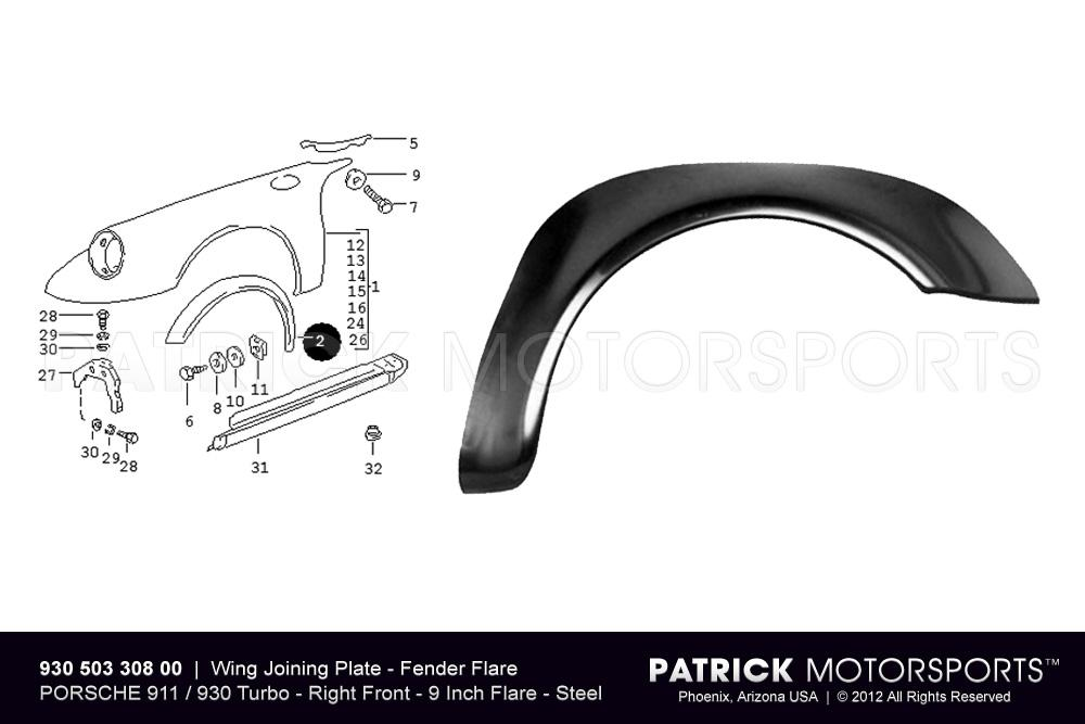 Fender Flare - Wing Joining Plate - Front Right - 911 / 930 Turbo