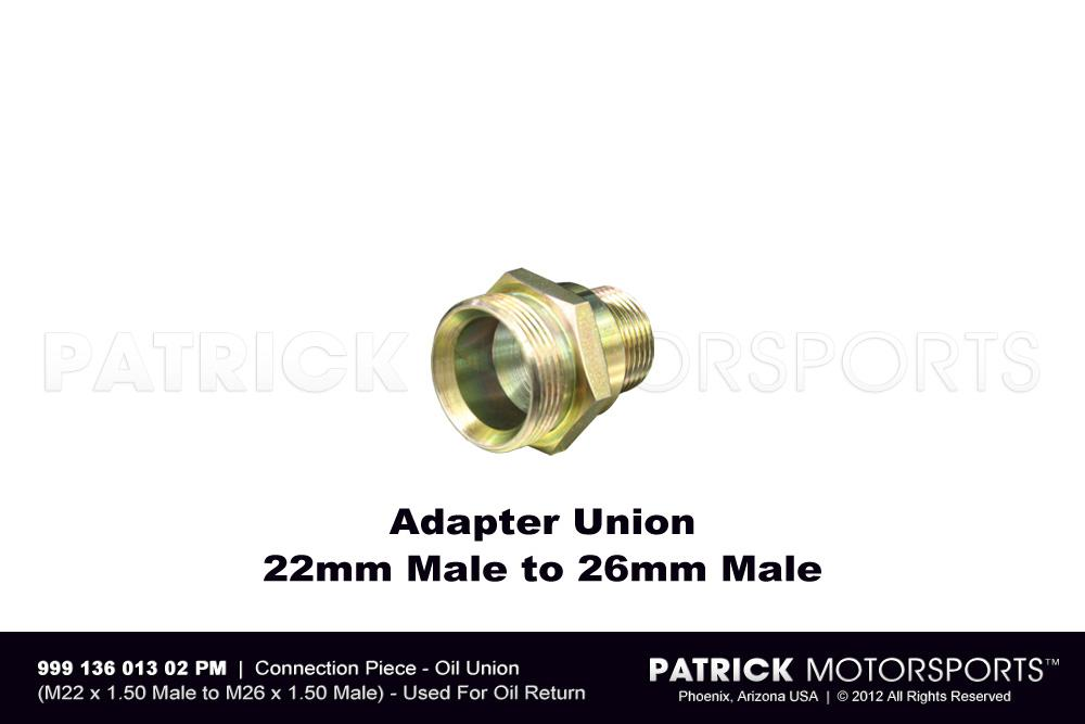 Connection Piece - Engine Oil Union Fitting - 22 mm Male to 26 mm Male