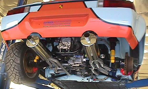 STARTING FROM THE BACK IS OUR DUAL SPORT EXHAUST SYSTEM - PORSCHE 914 6 - TWIN STAINLESS STEEL MUFFLER SYSTEM WITH POLISHED TIPS - 2.25 INCH (57 MM) O.D. IN / OUT - 914 6 REAR LOWER VALANCE REQUIRES TIP EXIT HOLES   PART NUMBER PMP9146DMS