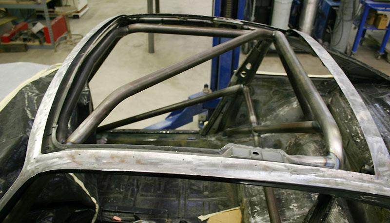 With the top skin removed it is much easier to install and properly weld the roll bar assembly.