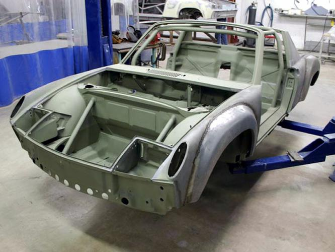 THIS SHOT SHOWS THE CAR WITH THE STEEL FLAIRS WELDED ON PRIOR TO FINISHING. AS YOU CAN SEE THERE IS VERY LITTLE METAL WORK NEEDED TO GET TO THE FINISHED PRODUCT.
