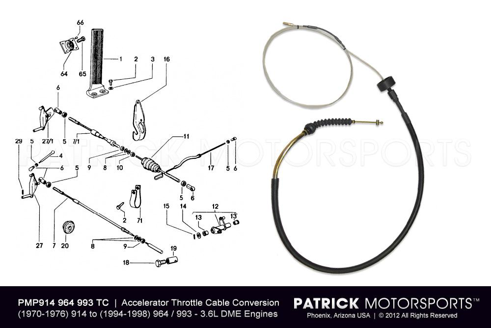 914 Accelerator Throttle Cable Conversion Kit to 3.6L DME Engine 964 - 993