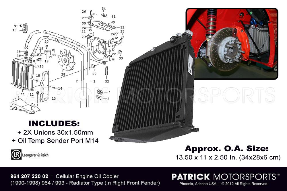 964 993 Engine Oil Cooler Radiator Heat Exchanger (In Right Front Fender)