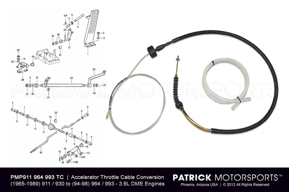 911 - 930 Accelerator Throttle Cable Conversion Kit to 964 / 993 3.6L DME Engines
