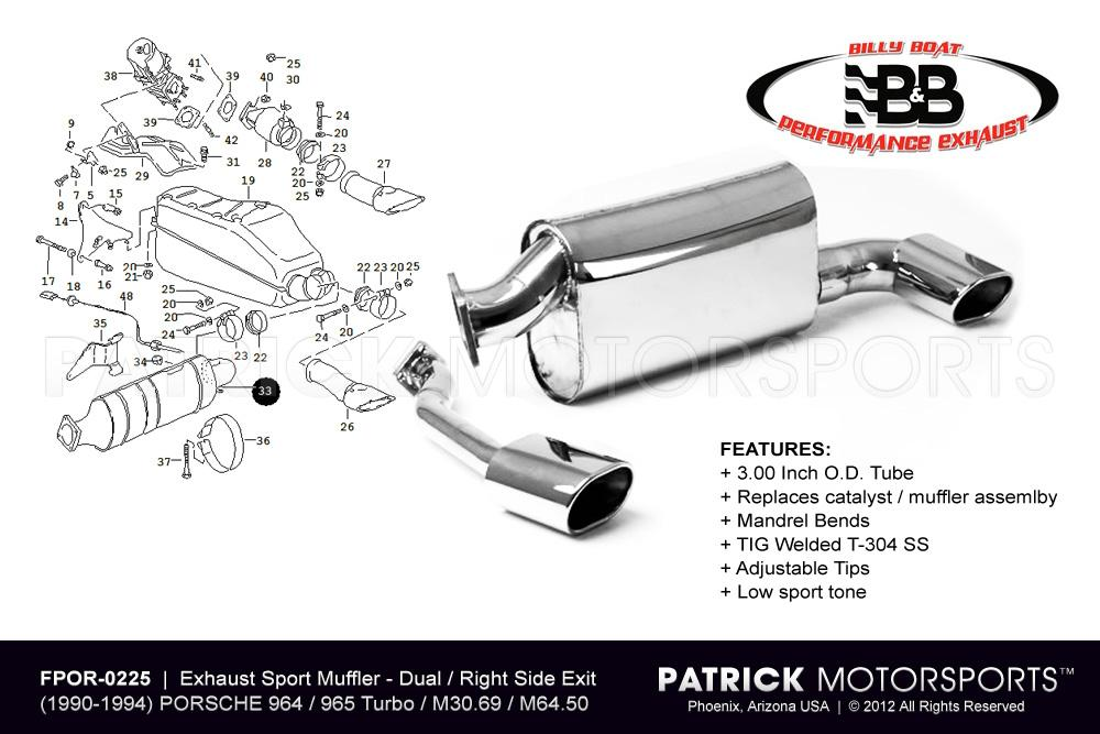 Exhaust Muffler - Sport Right Side Outlet - (1990-1994) PORSCHE 964 / 965 Turbo