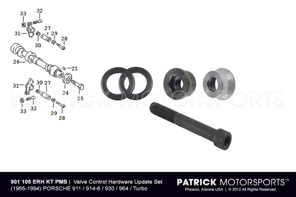Engine Valve Control Hardware Update Set with RSR Rocker Arm O-Ring Seals - 911 / 914-6 / 930 / 964 / Turbo
