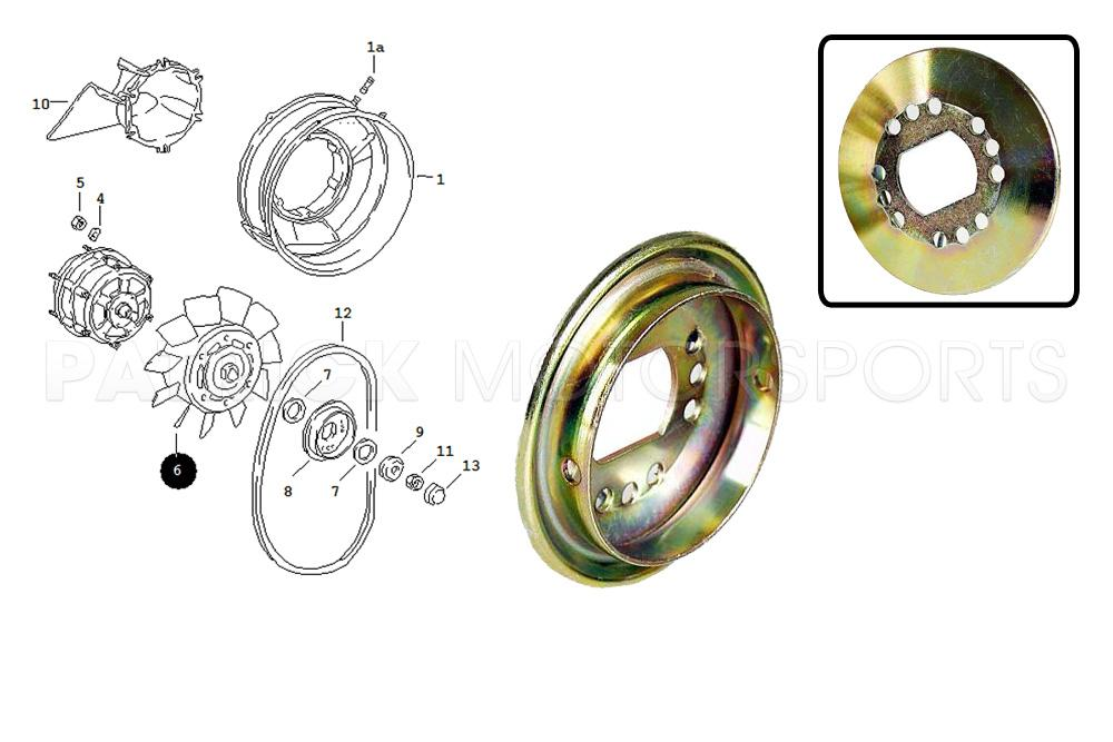 Impeller Fan Alternator Pulley Half 911 - 930