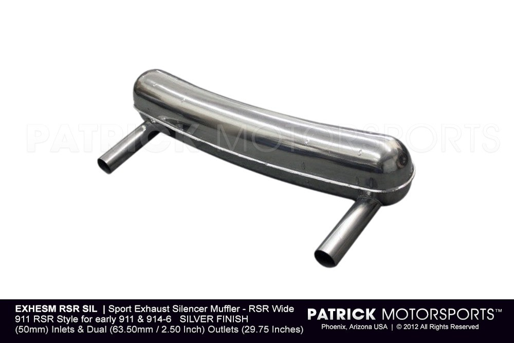 Sport Exhaust Silencer Muffler - RSR Wide - PORSCHE 911 RSR Style for early 911 914-6 SILVER