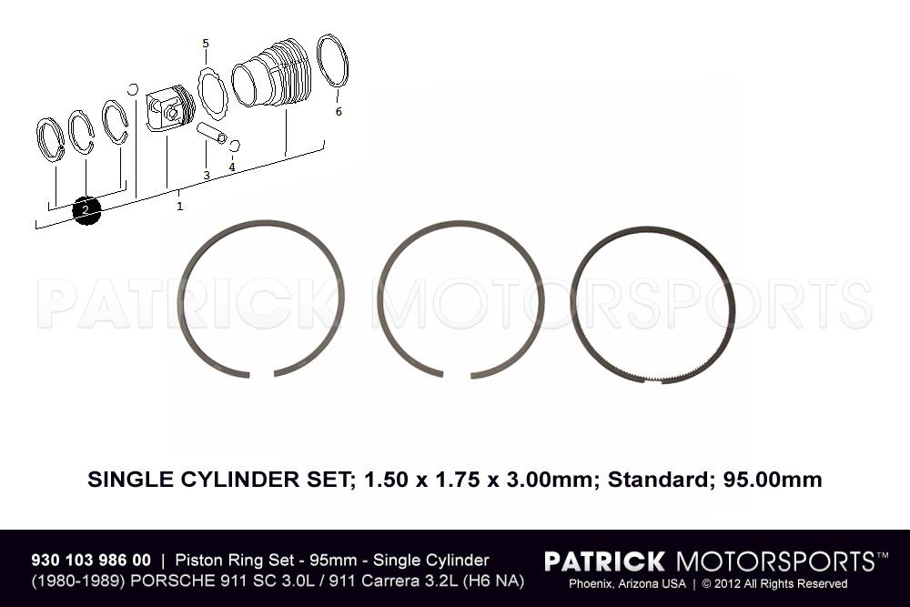 Set Of Piston Rings - Standard 95.00mm - (1980-1989) PORSCHE 911 SC 3.0L / Carrera 3.2L
