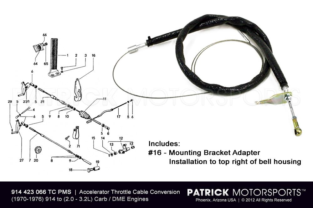 914-6 Throttle Accelerator Cable Conversion Kit - (1970-1976) PORSCHE 914-4 to H6 Cylinder