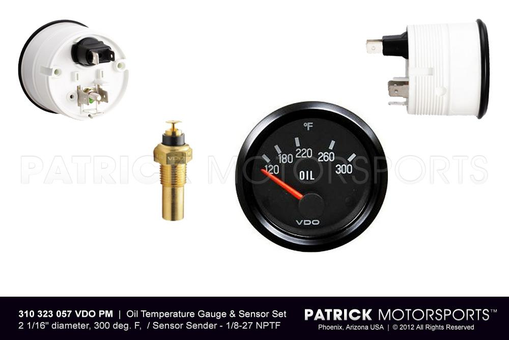 Oil Temperature Gauge & Sensor Set - Engine - Transmission - 1/8-27 NPTF