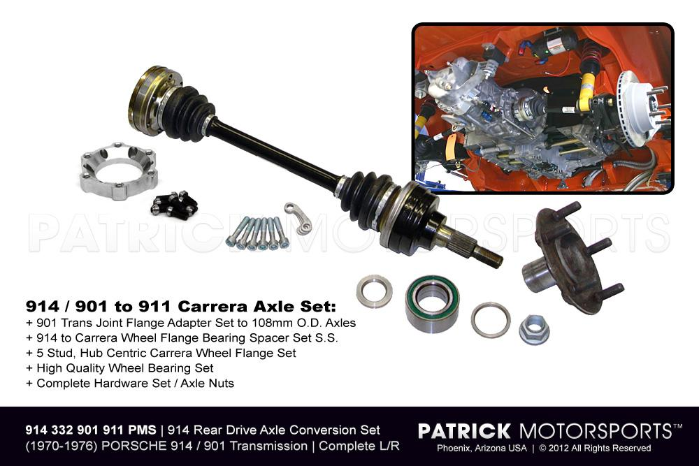 914 Rear Carrera Axle Drive Shaft & 5 Stud Wheel Flange Conversion Set