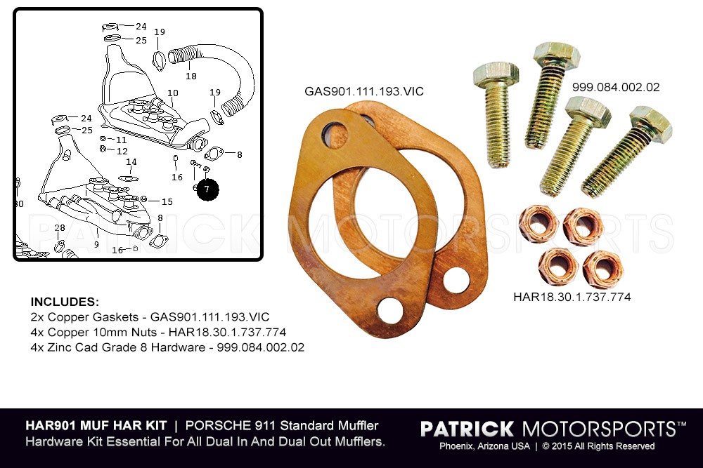 911 ESSENTIAL DUAL IN MUFFLER HARDWARE KIT