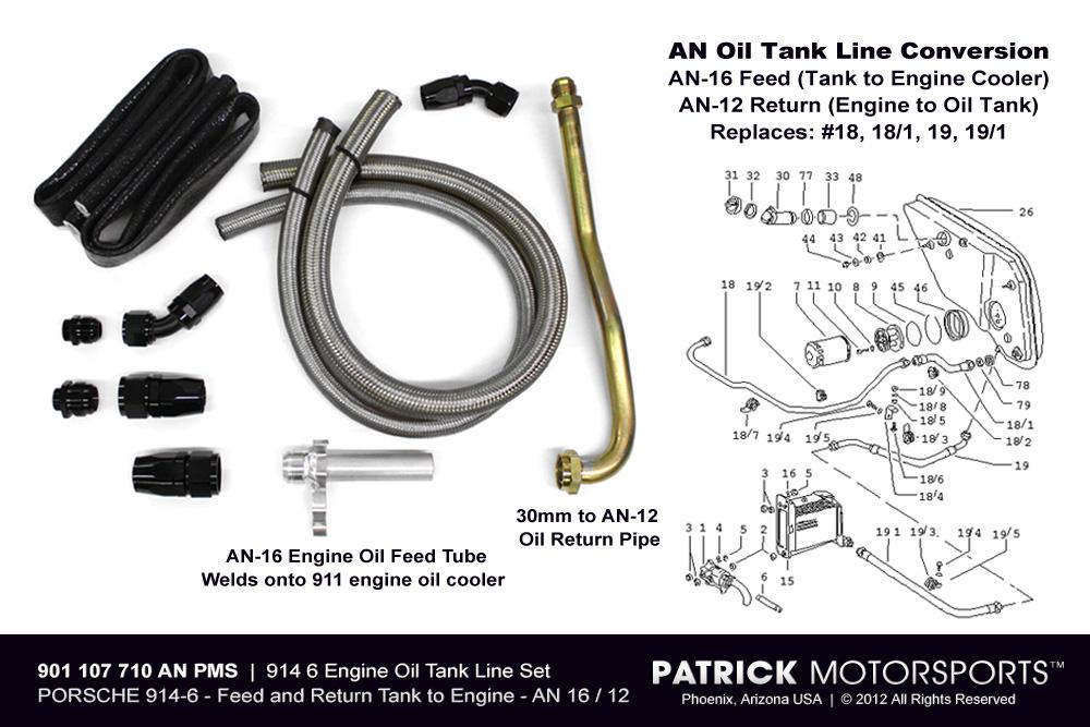 914 6 Engine Oil Tank Line Set - AN Line Conversion - No Aux Cooler