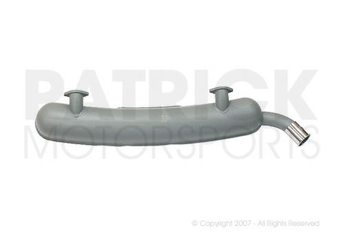 Exhaust Muffler - (1974) PORSCHE 911 / 2.7L - Grey Painted Steel - Dual In, Single Left Out Chrome Ornamental Tip