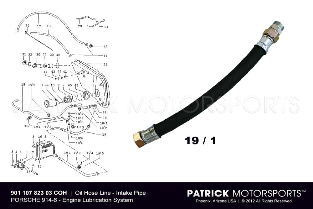 914-6 Oil Hose Line - Intake Feed Pipe to Engine Oil Cooler - PORSCHE 914 / 6
