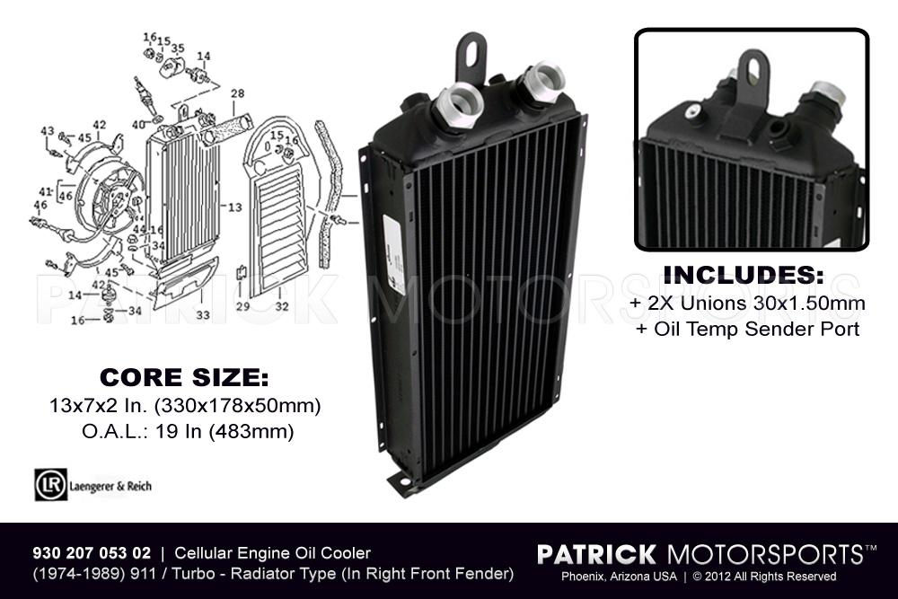 Engine Oil Cooler (In Right Front Fender) - 911 - 930