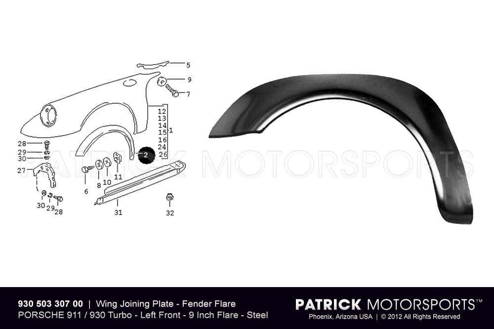 Fender Flare - Wing Joining Plate - Front Left - 911 / 930 Turbo
