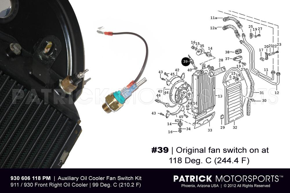 Temp Switch Sender Kit for Oil Cooler Fan 911 Carrera - 930 turbo