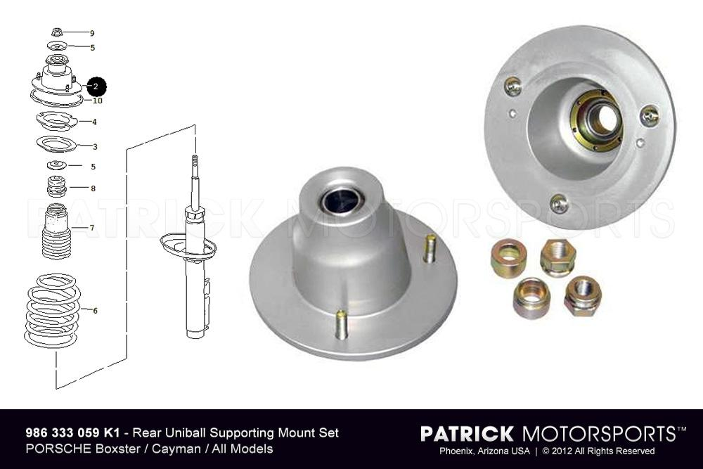 986 - 987 Monoball Shock Supporting Mount Set : Rear Upper - All Boxster / Cayman