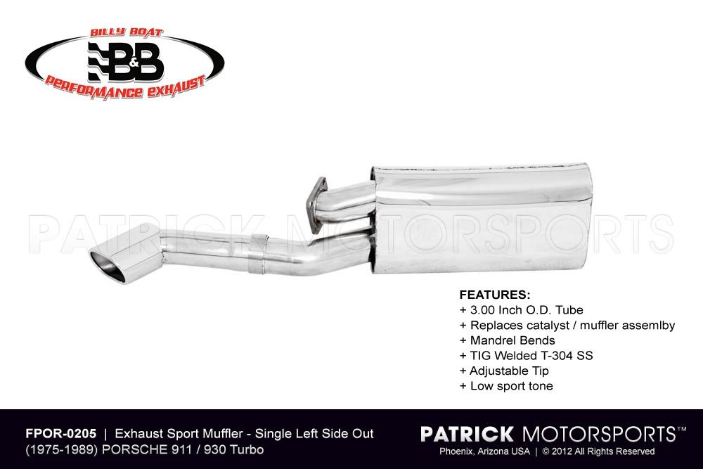 Exhaust Muffler - Sport Single Left Side Outlet 911 / 930 Turbo