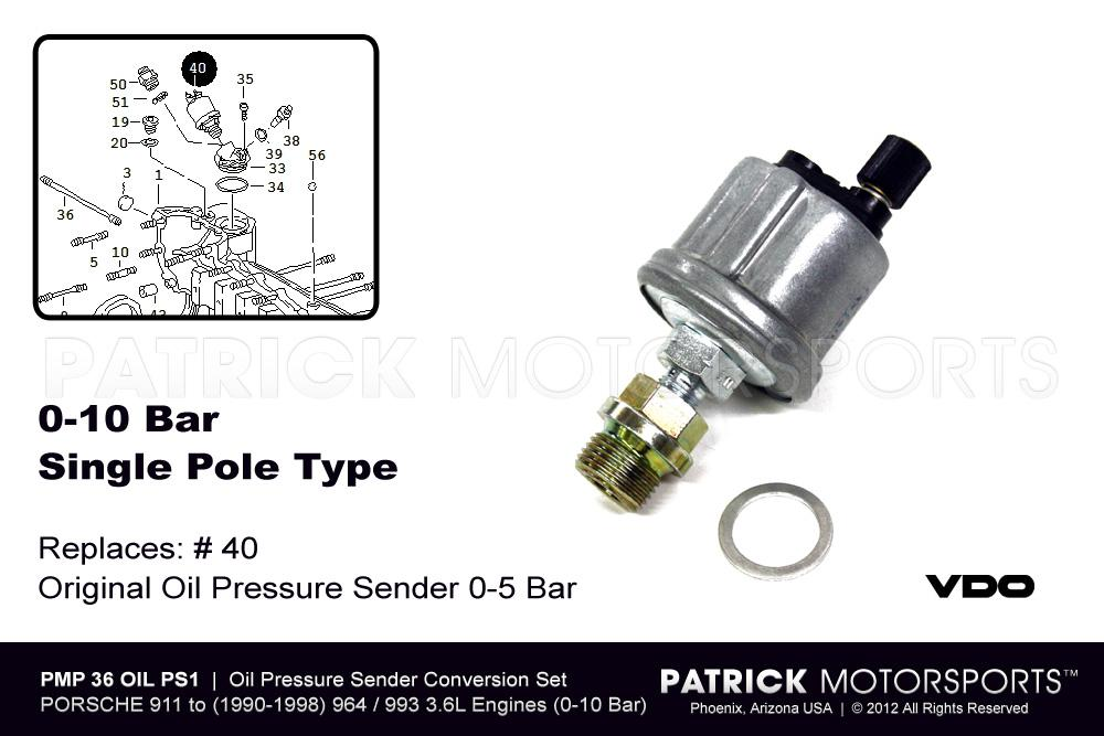 Oil Pressure Sending Unit 3.2L & 3.6L Engine Conversion - Single Pole
