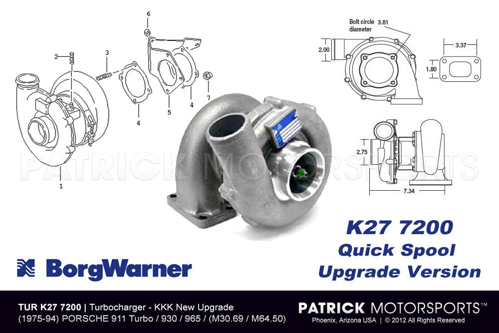 Turbo K27 7200 Borg Warner KKK - 930 / 964 / 965 Turbo S Turbocharger Supercharger