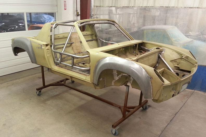 914-6 GT JM chassis front ready for sealer